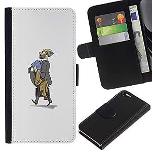 KingStore / Leather Etui en cuir / Apple Iphone 6 / Traje Gris Calvo Profesor Escuela de Niños