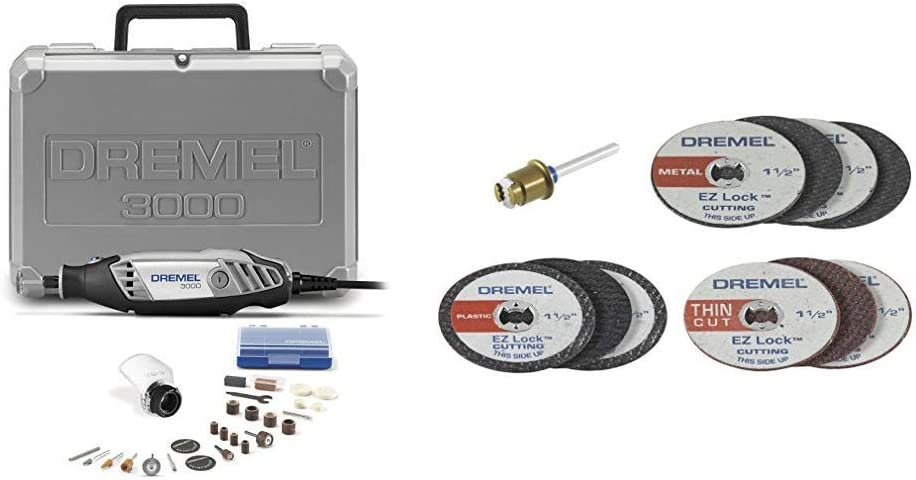 Dremel 3000-1/25 120-volt Variable Speed Rotary Tool Kit and EZ688-01 EZ Lock Mini Cutting Kit for Metal and Plastic