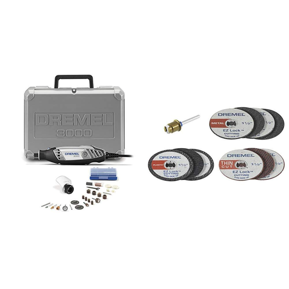 Dremel 3000-1/25 120-volt Variable Speed Rotary Tool Kit and EZ688-01 EZ Lock Mini Cutting Kit for Metal and Plastic