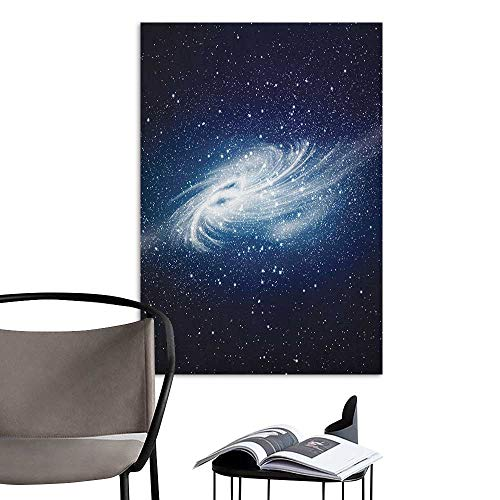 Poster Sticker Outer Space Spiral Galaxy Image Space and Stars Celestial Cosmos Expanse Universe Modern Navy White Warm and Romantic W8 x H10 (Screen Fireplace Celestial)