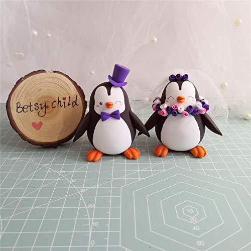 Custom Penguin wedding cake toppers, Bride and groom figurines,Handmade, Fully customizable. Unique keepsake