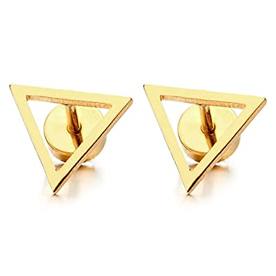 Unisex Stainless Steel Open Triangle Stud Earrings for Man and Women, Screw Back 2pcs