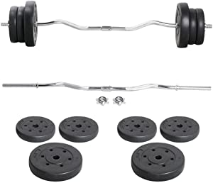 Topeakmart Curl Olympic Bar/Barbell Set Lifting Exercise Curl Bar Adjustable Olympic Plate Weight Sets Home Fitness Exercise Machines Squat Bar Weightlifting Equipment