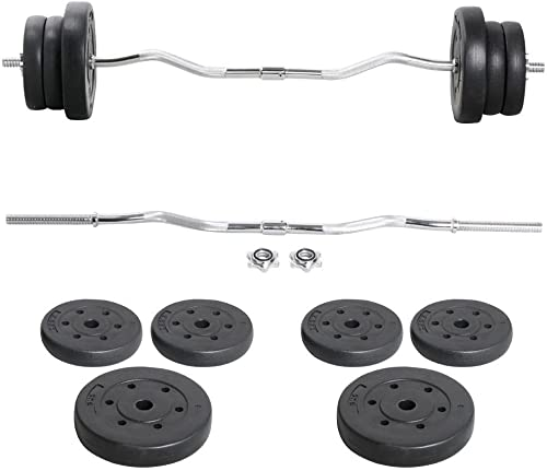 Yaheetech Barbell Weight Set – Olympic Curl Bar 6 Olympic Weights 2 Olympic Barbell Clamps for Lifts 55LB