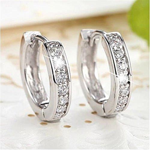 1Pair Womens Sparkle Sapphire Hoop Earrings Jewelry Gift