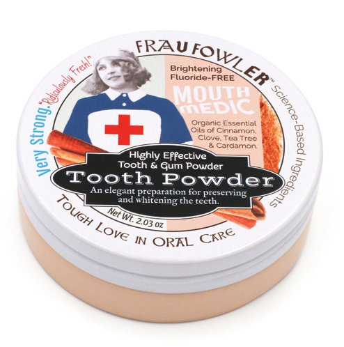 Frau Fowler Mouth Medic Tooth Powder, Cinnamon/Clove, Botanically Clean, Teeth-Whitening, Remineralizing, Fluoride Free, Gluten Free, SLS-Free - Restores Enamel and Freshens Breath 2 Ounces, 1 (Clove Gum)