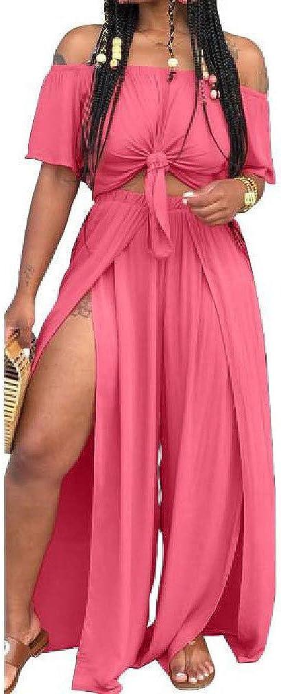 Vska Womens Solid Colored Loose 2-Piece Split Short Sleeve Jumpsuit Trousers