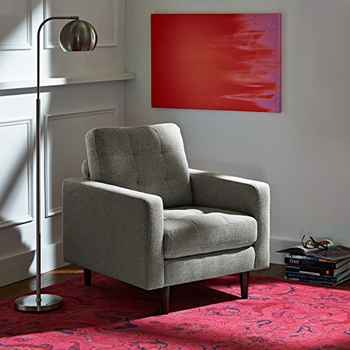 Rivet Cove Modern Tufted Accent Chair with Tapered Legs, Mid-Century, Light Grey - 2
