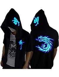 Unisex-Adult/Teens Galaxy Unique Design Short Sleeves Luminescent Hoodie T Shirts Glow Lights in Dark