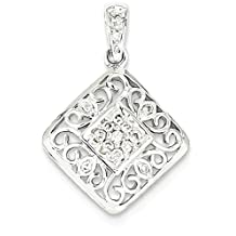 ICE CARATS 14k White Gold Diamond Pendant Charm Necklace Fine Jewelry Gift Set For Women Heart