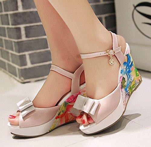 Aisun Donna Stampa Floreale Piattaforma Peep Toe Fibbia Cinturino Alla Caviglia Sandali Con Zeppa Tacchi Alti Con Fiocchi Rosa