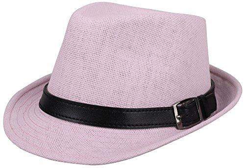 Simplicity Panama Style Fedora Straw Sun Hat with Leather Belt, Light Pink, LXL