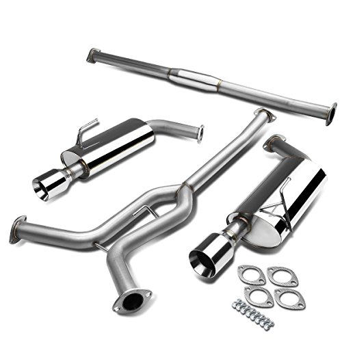 For 04-08 Nissan Maxima A34 V6 Stainless Steel Dual 4 inches Rolled Muffler Tip Catback Exhaust System ()
