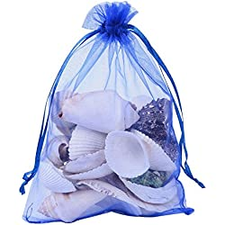 Pandahall 100 PCS 5x7 inch Blue Organza Drawstring Bags Party Wedding Favor Gift Bags