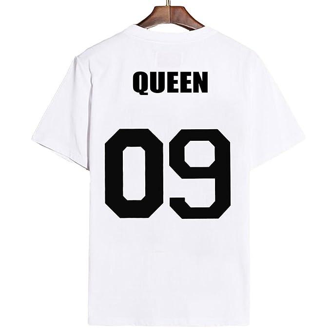 JWBBU King Queen Pareja Camiseta para Mujeres y Hombres Iimpresión de King y Queen 09 Mangas