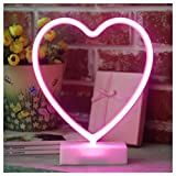 YiiY Pink Heart Shaped Neon Light Desk Table Lamp/LED Figurine Lamps Lights with Timers/Battery Operated Neon Sign for Nursery,Table Decorations,Kids' Room,Living Room,Bedroom (Pink-Heart)