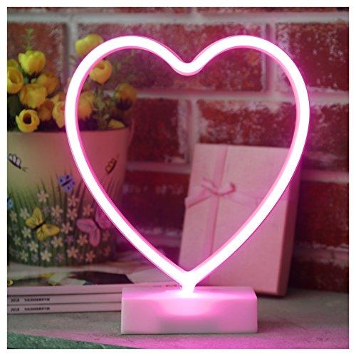 YiiY Heart Neon Sign Light,Table Decor Lamp,Battery Powered Decor for Desk,Living Room (Heart-Pink) (Neon Desk)