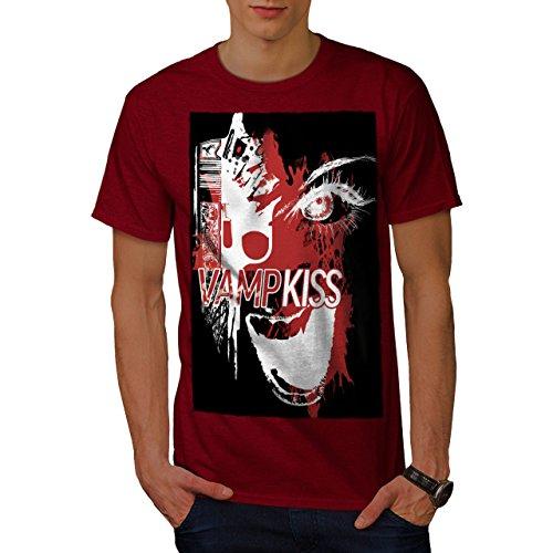Wellcoda Vampire Kiss Scary Horror Men T-Shirt