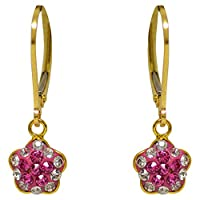 Minigems Dangle Shamballa Flower Earrings for Girls