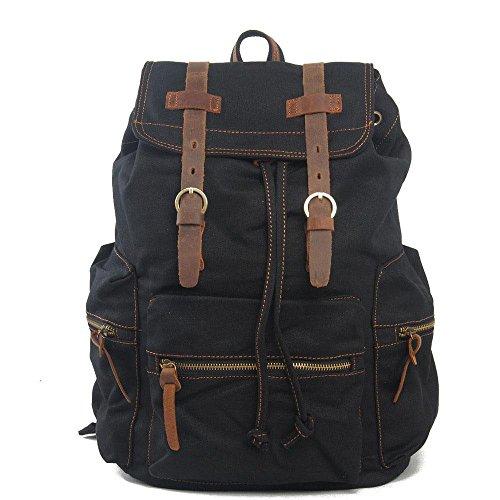 Europa und die Vereinigten Staaten Retro Tasche Segeltuch Rucksack Reisetasche Computer Rucksack Black