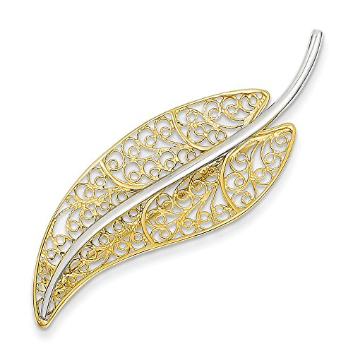 14k Gold Two-Tone Gold Filigree Leaf Pin by Mia Diamonds and Co.