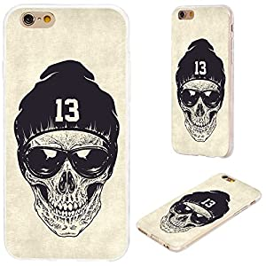 iPhone 6s Case,iPhone 6 Case,VoMotec [Cute series] Shockproof Anti-scratch Slim Flexible Soft TPU Protective Skin Cover Case For iPhone 6 6s 4.7 inch,dotwork skull with modern street style sunglasses