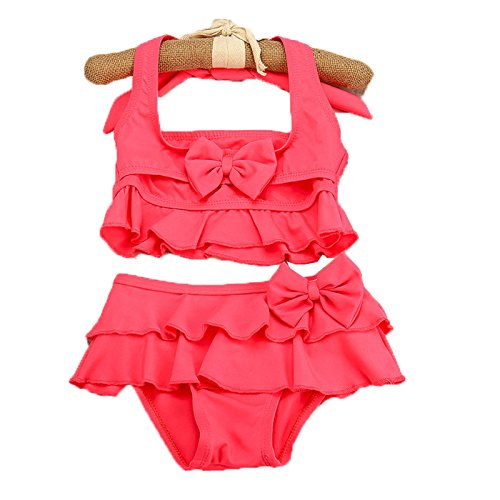 Wengift Kids Cute Bow Lotus Leaf Edge Two Piece Swimsuit Girl's Halter Swimwear