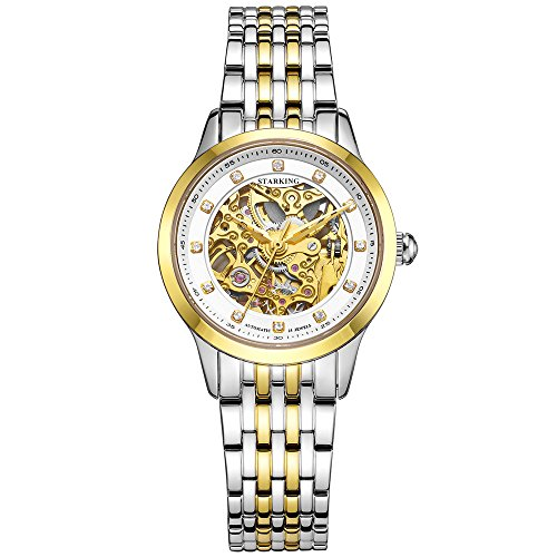 STARKING Women Unisex Self Winding Automatic Skeleton Gold AL0188 Stainless Steel Two Tone Sapphire Diamond Luxury Watch (Luxury Watch Womens Tone Two)