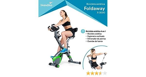 skandika Foldaway X-3000 - Bicicleta estática - Plegable - Porta Tableta - Bluetooth - estación de Ejercicios (Verde): Amazon.es: Deportes y aire libre