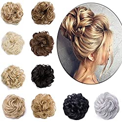 Messy Hair Bun Extensions Synthetic Updo Chignons Donut Elastic Bride Bun Ponytail Scrunchy Hairpiece Wig Accessory for Women 45g Dark Blonde Mix Bleach Blonde-Thicker