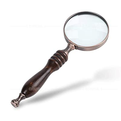 BOLLAER Handheld Magnifier, Antique Handle Magnifier 10X Reading Magnifying Glass Loupe Magnifier for Reading Book, Inspection, Newspaper, Rocks, Map: Toys & Games