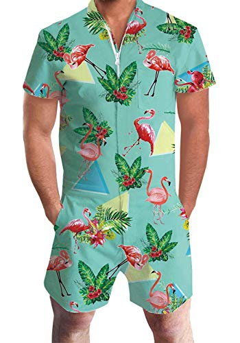 Men's Rompers Male Zipper Jumpsuit Shorts Mint Tropical Hawaiian Flamingo Triangle Printed One Piece Slim Fit Outfits Bro Short Sleeve Overalls