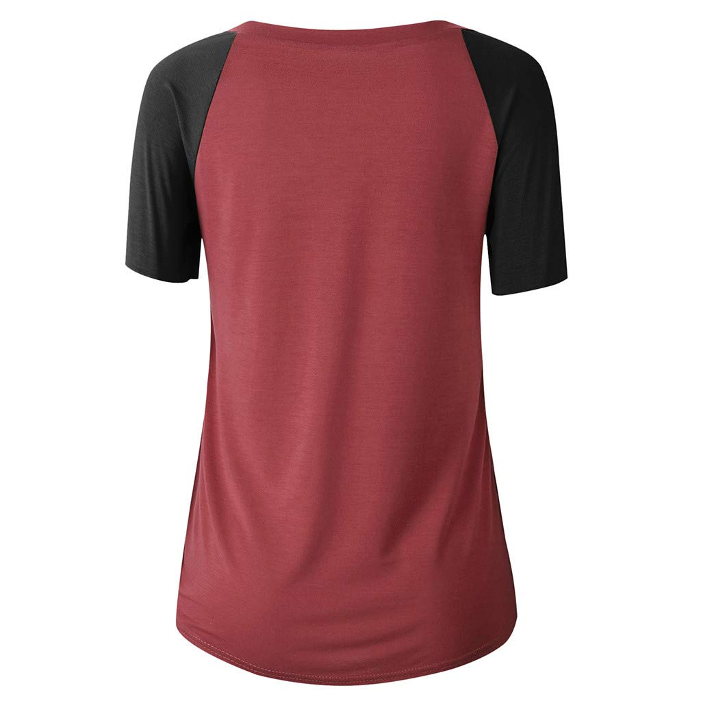 Libermall Women's Casual Short Sleeve T-Shirt Round Neck Patchwork Loose Tunic Shirt Blouse Top for Teen Girls Red by Libermall Blouses (Image #3)