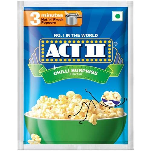 kraft india Act II Popcorn - Chilli Surprise, 30g and 11g (Pack of 10)