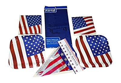Patriotic July Fourth Memorial Day Party Supplies Bundle: 70 Piece (Serves 28 People)