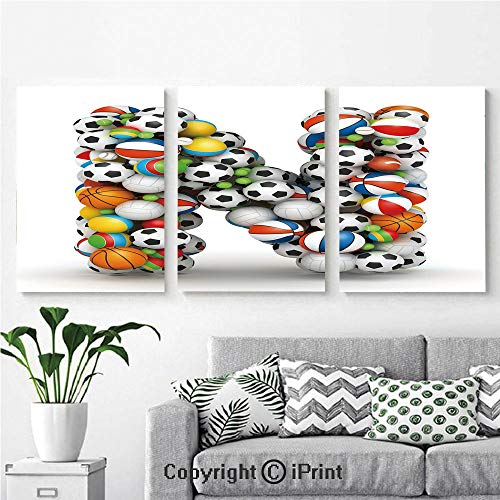 3PCS Triple Decoration Painting Wall Mural Sports Equipment Football Volleyball Tennis Ball Capital N Symbol Alphabet Design Decorative Living Room Dining Room Studying Aisle Painting,16