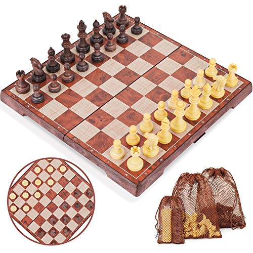 Peradix Magnetic Chess Pieces with Storage Bags, Portable Travel Folding Board Game, Big Size, Educational Learning Toys for Kids Adults, Birthday Christmas New Year Gifts