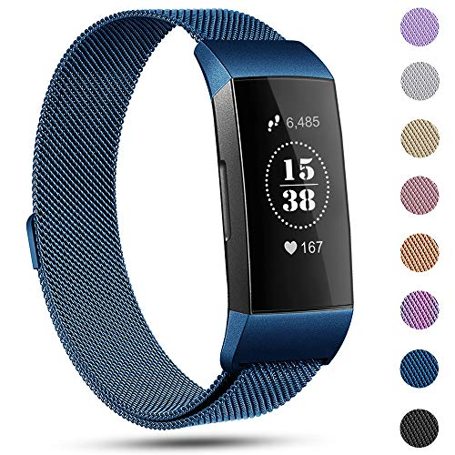 Replacement Compatible Fitbit Charge 3 Bands /Charge3 SE Metal Bands Wristband Accessory Magnetic Breathable Sport Bracelet Strap Large for Women Men Silver Black Rose Gold Blue 10 Colors