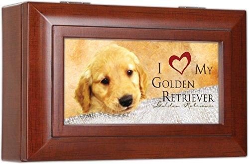 Cottage Garden Love My Golden Retriever Rich Woodgrain Finish Petite Jewelry Music Box - Plays Song Wonderful World
