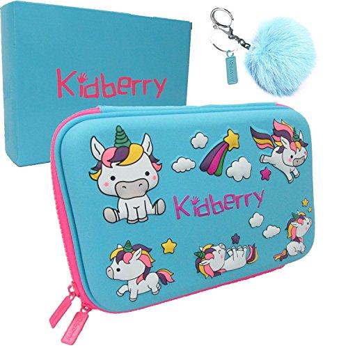 Pencil case for kids, The original brand Kidberry pen case for kids,pencil pouch, girls pencil case, Cute Unicorn 3D Unique design pencil box, comes with a matching Pom Pom key chain in a gift box Photo #5