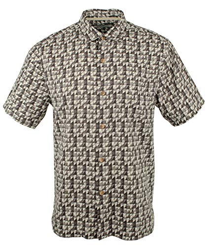 Tommy Bahama Men's Big & Tall Poquito Geo Camp Shirt-BLK-2LT Black