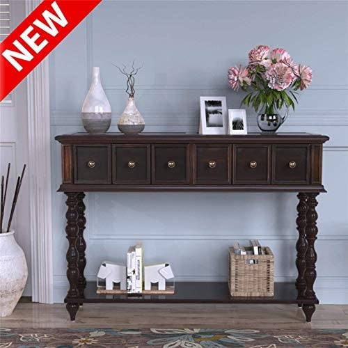 ZMIHANNA Stronger Rustic Console Sofa Table, Luxurious Hallway Table for Entryway with 2 Big Exquisite Drawers Bottom Shelf, Thicken Solid Wood Sofa Table Sideboard Table for Living Room Brown