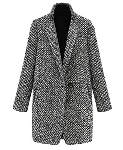 Tweed Peacoat - BYWX Women's Winter Tweed Loose Wool Blend One Button Warm Peacoat Outwear Grey US XL