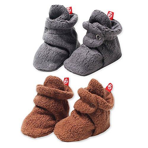 2 Pack Zutano Booties Unisex Fleece Slipper Socks Chocolate and Gray - 18M