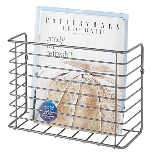 (mDesign Metal Wire Farmhouse Wall Mount Magazine Holder, Storage Organizer - Space Saving Compact Rack for Magazines, Books, Newspapers, Tablets in Entryway, Mudroom, Living Room - Graphite Gray)