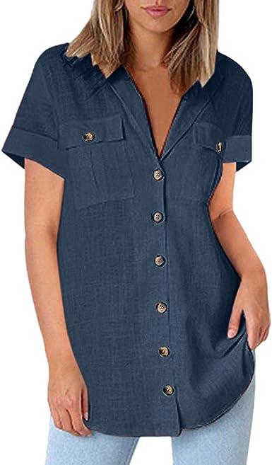 DressLksnf Camiseta de Mujer Verano de Algodón y Lino Mangas Cortas Suelto Color Sólido Blusa Moda Cuello en V Camiseta Corta Casual Bolsillo y Botones Tops: Amazon.es: Ropa y accesorios
