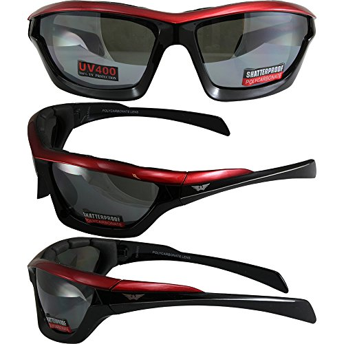 Global Vision Fast Track Motorcycle Sunglasses Red, Black, Silver Three-Color Design Frames with Flash Mirror - Fast Track Eyewear