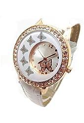 Women Butterfly Pattern Crystal Quartz Wrist Watch White