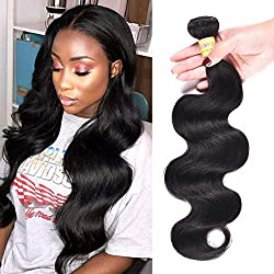 "8A Brazilian Hair Body Wave 1 Bundle/100gram Real Human Hair Extensions Virgin Unprocessed Brazilian Human Hair Weave Natural Black Tangle & Shedding Free (1PC 10"")"