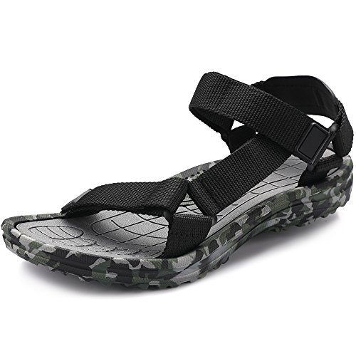VILOCY Men's Lightweight Adjustable Strap Outdoor Camo Water Shoes Sling Sport Sandals Green,42